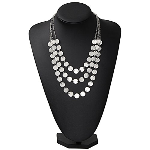 Statement Choker Necklace SUMAJU Round Coins Chunky Bib Charm Chain Necklace Silver Tone (Silver Tone Charm Necklace)