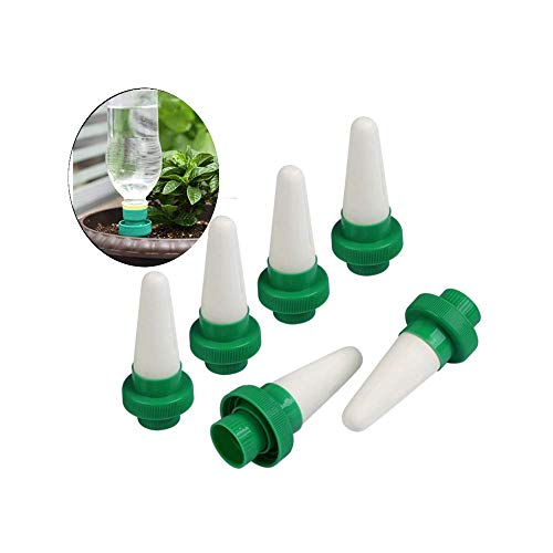 Irrigation System Trees - Plant Waterer for Vocations, 6 Pack Automatic Self Watering Device, Ceramic Watering Spikes for Plastic Bottles, Auto Drip Irrigation System for Indoor & Outdoor House Office Plants Potted Flower Tree