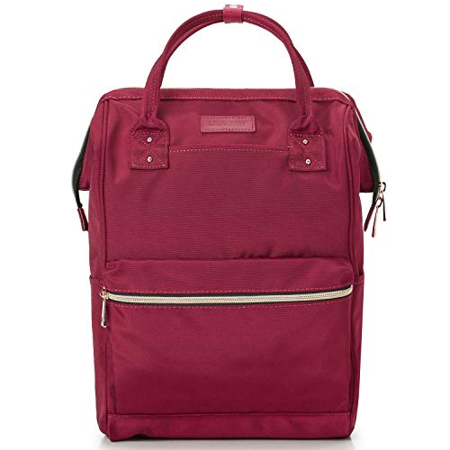 Lily & Drew Casual Travel Daypack School Backpack for Men Women and 14 Inch Laptop Computer, with Wide Doctor Style Top Opening (V4 Red2 Medium)