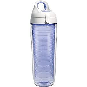 Tervis 1177164 Clear & Colorful, Lakeside Lavender Tumbler and White with Purple Lid 24oz Water Bottle, Lakeside Lavender