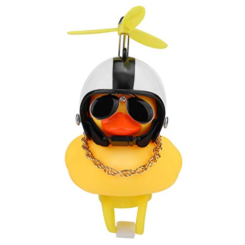 Shan-S Kids Bike Horn,Cute Cartoon Yellow Little Duck Shape Bicycle Lights Bell,Propeller Handlebar Bike Squeeze Horns for Toddler Children & Adults Cycling Motorcycle Light Rubber Duck Helmet Toys