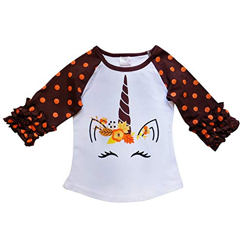 So Sydney Toddler & Girl Fall & Winter Holiday Sparkle Ruffle Raglan T-Shirt (L (5), Pumpkin Unicorn Fall)]()