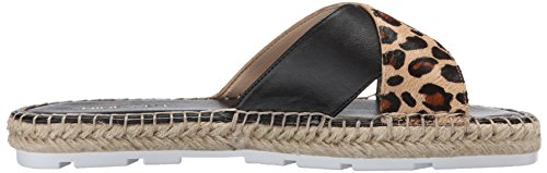 Nine West Women's Demetria Pony Flat Sandal Natural Multi/Black aluurt