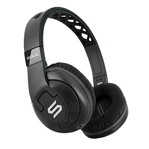 SOUL Electronics X-TRA Performance Bluetooth 4.0 Wireless Over-Ear Headphones for Sports. 24 Hours Playtime for Running and Workout and GYM. Support Apple iPhone and Android - Black