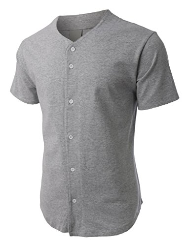 (Hat and Beyond Mens Baseball Button Down Jersey (Small, 1ks02_Gray))