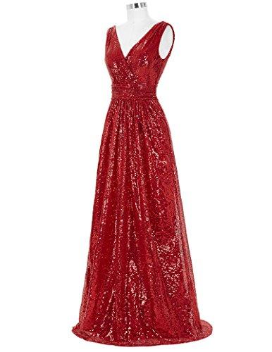 Red Formal Evening Dress (Kate Kasin Red Graceful Sequin Dress Sleeveless V-back V-neck Sexy Banquet Dress Size USA12 KK199-5)