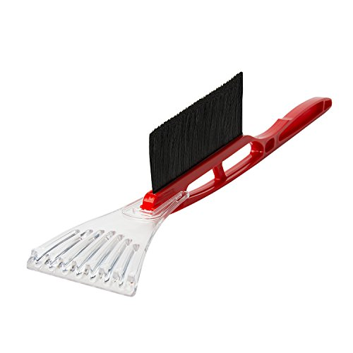 ALEKO ICB02RED Tough Ice Scraper with Snow Brush Long Handle Durable No-Scratch Scraper Defroster, Red