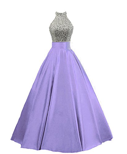 HEIMO Women's Sequined Keyhole Back Evening Party Gowns Beaded Formal Prom Dresses Long H123 22W Lavender