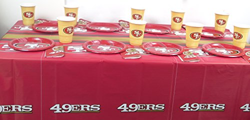 San Francisco 49ers Playoffs Super Bowl Football Party 49 Pieces Set, Includes Plates, Napkins, Jumbo Cups and a Tablecloth