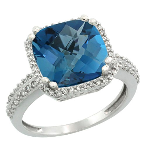 10k White Gold Natural London Blue Topaz Ring Cushion-cut 11x11mm Diamond Halo, sizes 5-10