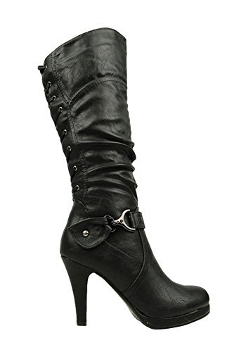 Top Moda Womens Page-65 Knee High Round Toe Lace-Up Slouched High Heel (Black Leather Lace Up Boots)