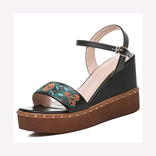 Sandalias Personalidad Tacón De Cuña Sra Grueso Mujer Summer Femenina Fondo Hebilla Black Bordada Alto Zapatos XwXxnrBH
