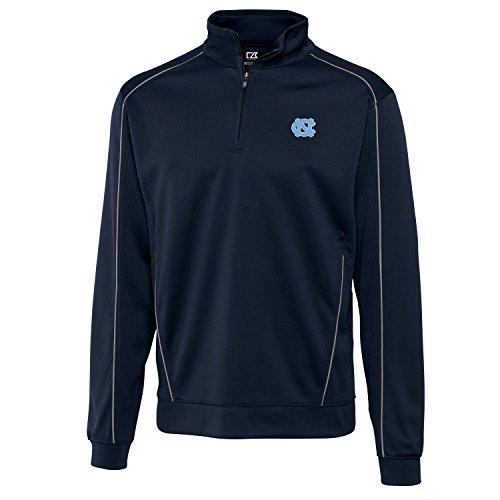 Cutter & Buck NCAA North Carolina Tar Heels Men's Edge Half Zip Top, Large, Navy Blue (Half Zip Mesh Pullover)