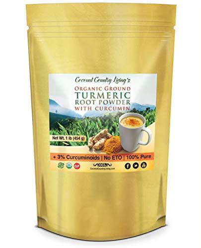 Organic Turmeric Root Powder Raw Spice w Curcumin, 2 lb -2 pack of 1 lb