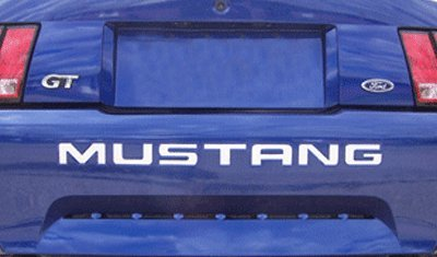 System Skins 1999-04 Ford Mustang Rear Bumper Vinyl Inserts Decals Letters - 38 Colors to Choose from (Color :: Silver)