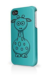 Giraffe Teal Plain Black iPhone 5 Case - Fits iPhone 5 Full Print Plastic Snap On Case by lolosakes