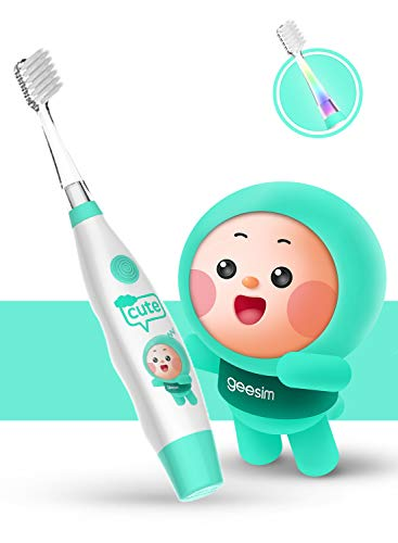 kids& Baby Toothbrush Electric Sonic Battery Powered With Smart Timer and Colorful LED, Baby &kids Electric Toothbrushes-Baby Sonic Toothbtush(BLUE) ()