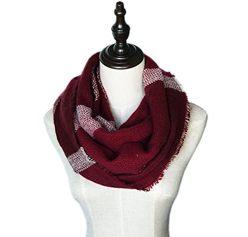 MissShorthair Women's Light Weight Colorful Painting Plaid Tartan Infinity Scarf (Burgunday (Maroon Burgundy)