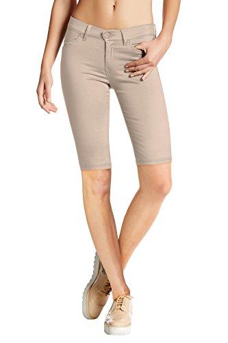 HyBrid & Company Womens Perfectly Shaping Hyper Stretch Bermuda Shorts B44876 Stone Small
