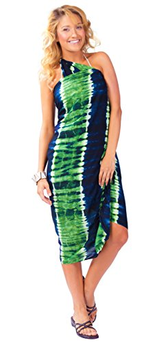1 World Sarongs Womens Tie Dye Swimsuit Cover-Up Sarong in Jungle Green