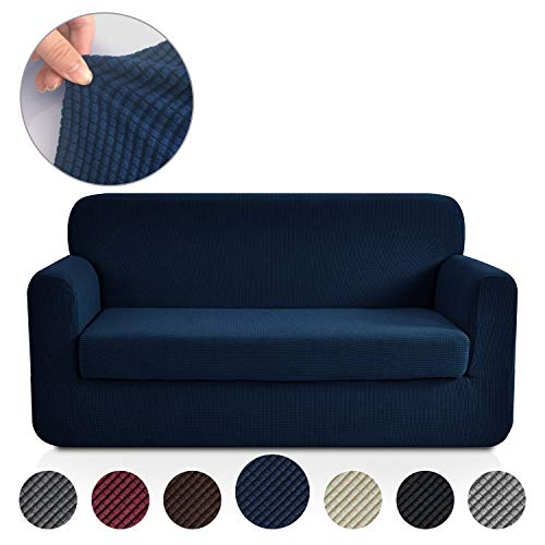 Rose Home Fashion RHF Jacquard Stretch 2-Piece Sofa Cover, 2-Piece Slipcover for Leather Couch-Polyester Spandex Sofa Slipcover&Couch Cover for Dogs, 2-Piece Sofa Protector(Loveseat: Navy) -