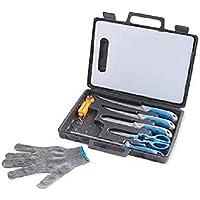 9 PCS Fishing Knife 2 Filleting Knives,Boning Knife Sharpener Glove Scale Set