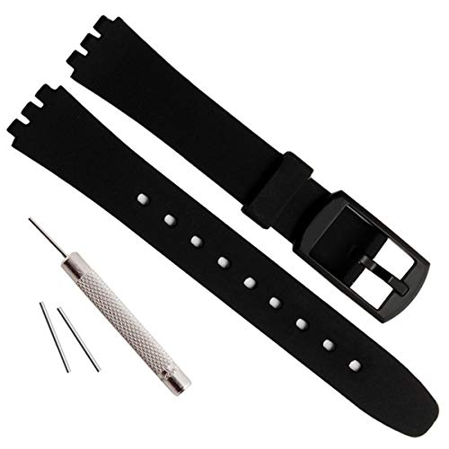 Replacement 12mm Waterproof Silicone Rubber Watch Strap Watch Band for Swatch (12mm, ()