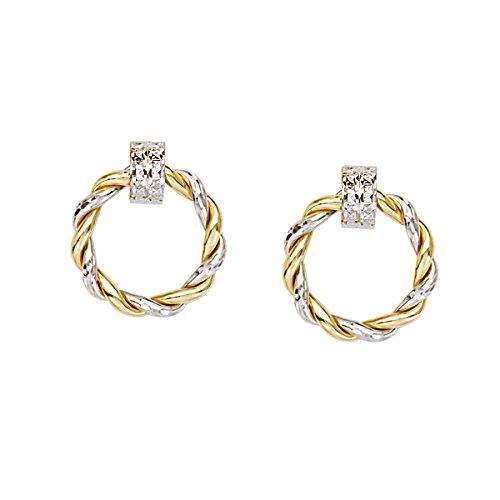 Gold Braided Round Doorknocker Hoop Post Earrings ()