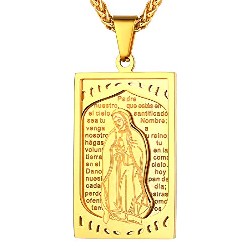 U7 Men Women Serenity Prayer Virgin Mary Pendant with 18K Gold Plated Rope Chain Catholic Dog Tags Necklace, 22