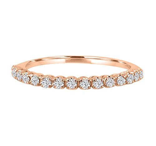 3215a038e84a7 Samaya Jewels 0.25ct Pave Diamond 14k Rose Gold Half Eternity ...