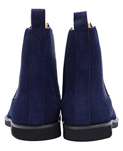 Santimon Heren Chelsea Laarzen Jurk Leer Suede Comfortabele Klassieke Eenvoudige Slip Op Blauw