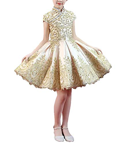 - gsunmmw Gold Lace Flower Girl Dresses for Wedding Beaded Pageant Ball Gown First Communion Dress for Girls GS098