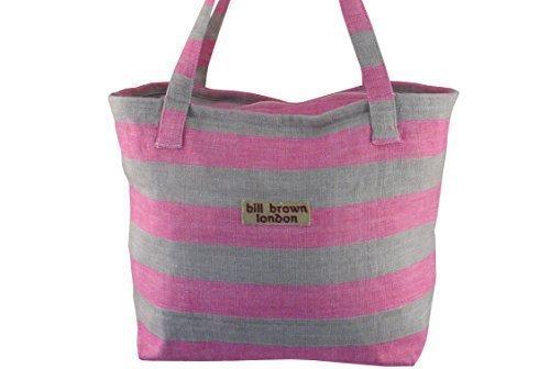 Rosa strisce grigie e cotone Shopper borsa con superiore con cerniera Mustique Design di Bill marrone London