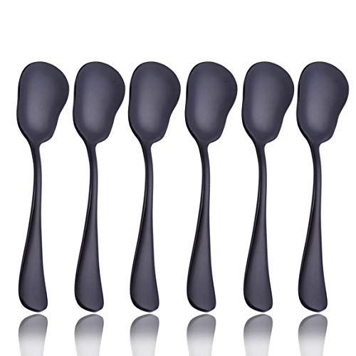 Black 6 Piece Sugar Spoon 5.2-inch Stainless Steel Service for 6 Spoons Table Dinner Flatware Set Table Silverware Dishwasher Safe Service for 6