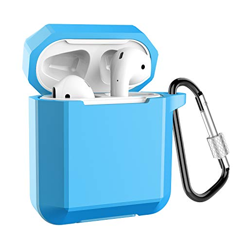 (Coffea AirPods Case, Airpods Silicone Case Cover Shockproof Protective Cover Skin with Keychain for Apple Airpods Charging Case (Sky Blue))