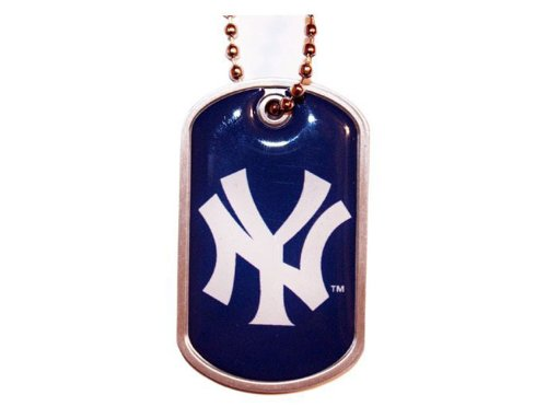 Domed Dog Tag Necklace - aminco New York Yankees Dog Tag Domed Necklace Charm Chain Mlb