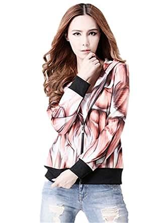 Sunnying Various Fashion Women's Full Zip Fleece Hoodie Sweatshirts (Large, Style 13)
