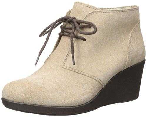 crocs Women's Leigh Suede Wedge Shootie Boot, Tan, 10 M US