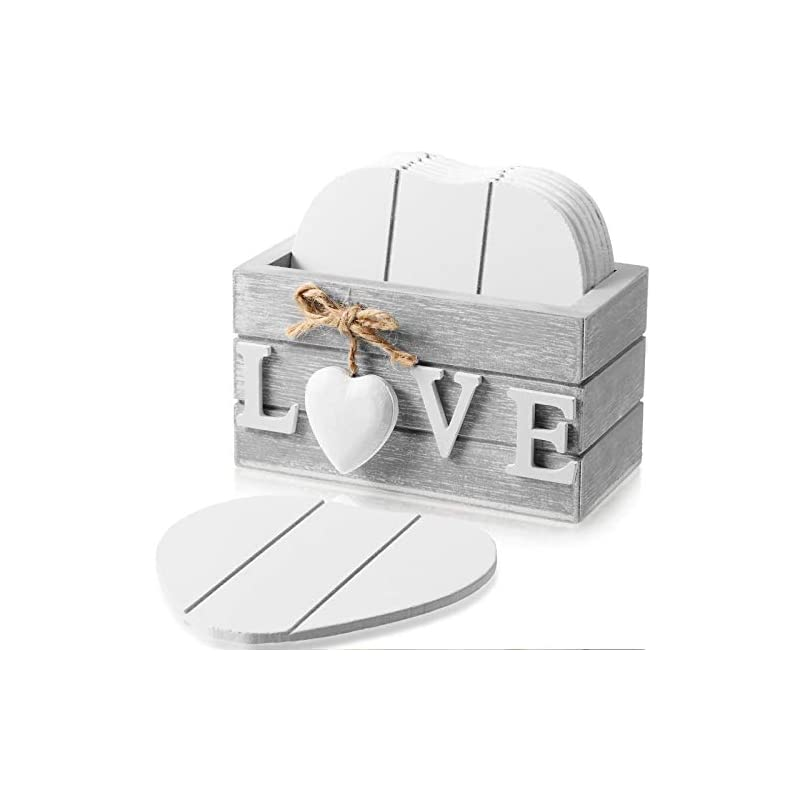6 Pieces Wooden Love Heart Coasters in Grey Storage Box Rustic Home Decoration Drink Coaster for Tabletop Protection…