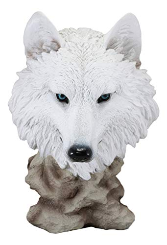 Ebros Large Ghost Albino Arctic Snow White Wolf Head Bust Desk Plaque Statue 16.5