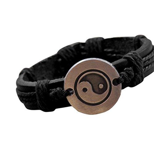 (Molyveva Men Women Vintage Leather Wrist Band Rope Bracelet Punk Alloy Taiji Bangle Wristband )