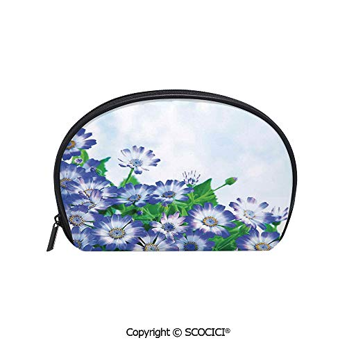 SCOCICI Women Small Portable Cosmetic Bag Storage Bag Fresh Wildflowers in Grass Vivid Spring Daisy Bloom over Sky Floral Design Print Mini Storage Bag for Daily Travel