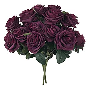 DALAMODA Plum Roses 2 Bundles (with Total 20 Heads) Rose Flower Bouquet, for DIY Any Wedding Prom Decoration Artificial Silk Flower 96