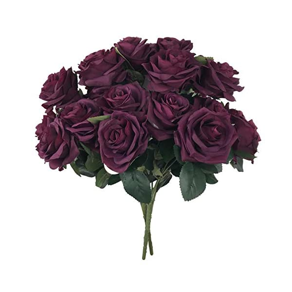 DALAMODA Plum Roses 2 Bundles (with Total 20 Heads) Rose Flower Bouquet, for DIY Any Wedding Prom Decoration Artificial Silk Flower
