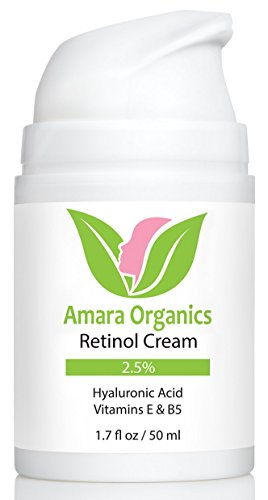 Amara Organics Retinol Cream for Face 2.5% with Hyaluronic Acid & Vitamins E & B5, 1.7 fl. oz.