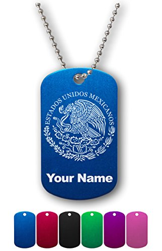Military Style ID Tag - Flag of Mexico - Personalized Engraving Included