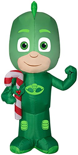 Gemmy 3.5' Airblown Gekko w/Candy Cane Christmas Inflatable