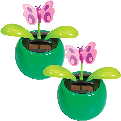 Warm Fuzzy Toys (Set/2) Waving & Bobbing Dashboard Butterfly Solar Power Shakers Colors Vary Dashboard Shaker