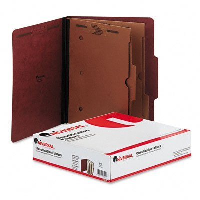 Pressboard Folder w/2 Dividers, Letter, 6-Section, Red, 10 per Box by Universal Power Group