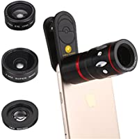 4-in-1 Mobile Phone Clip-On Camera Lens Kit, Professional 10x Zoom Telephoto Fish Eye + 0.36x Wide Angle + 15x Micro Clip Lens For iPhone HTC Google OnePlus other Smartphones (Black)